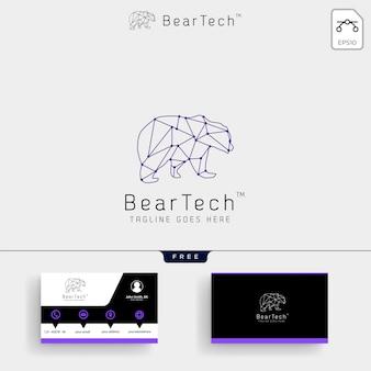 Modèle de logo géométrique bear tech et carte de visite
