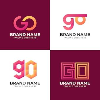 Modèle de logo go de couleur dégradé