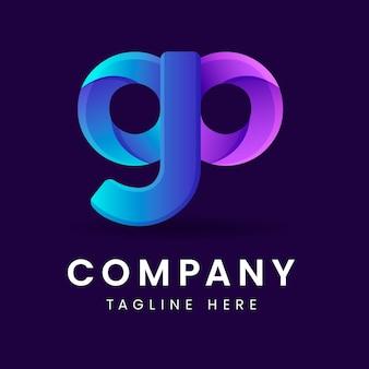 Modèle de logo go dégradé créatif