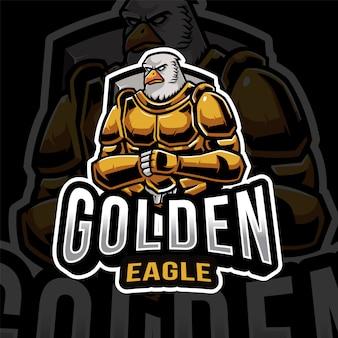 Modèle de logo golden eagle esport