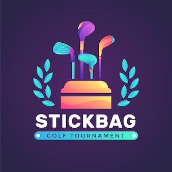 Modèle de logo de golf de couleur dégradé sur fond sombre