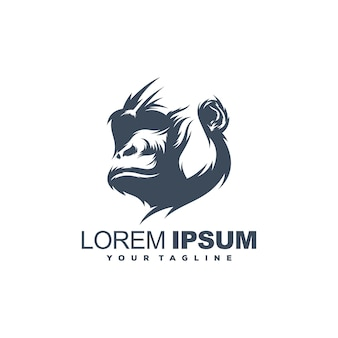 Modèle de logo de gorille génial