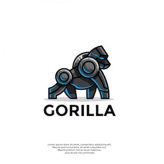 Modèle de logo de gorille robotique unique