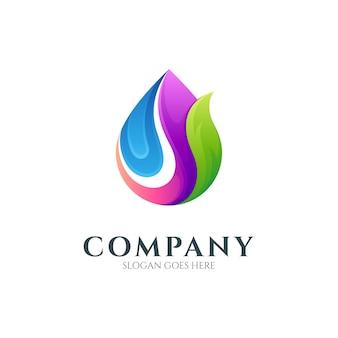 Modèle de logo de goutte d'eau nature