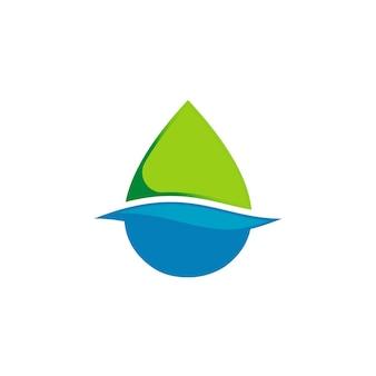 Modèle de logo de goutte d'eau propre
