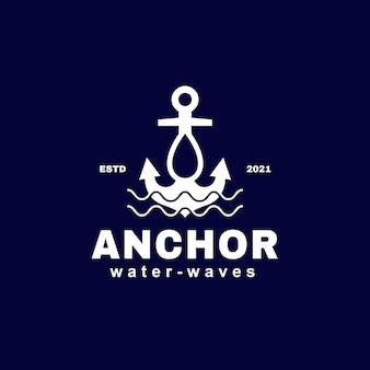 Modèle de logo de goutte d'eau et de vagues d'ancre