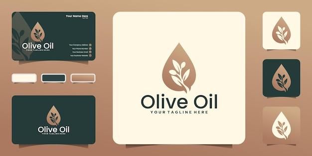 Modèle de logo de goutte d'huile d'olive et conception de carte de visite