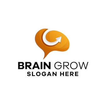 Modèle de logo de gradient de croissance du cerveau