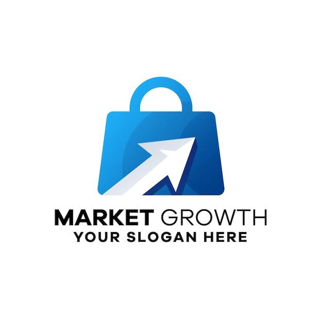 Modèle de logo de gradient de croissance du marché