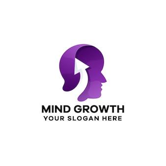 Modèle de logo de gradient de croissance de l'esprit