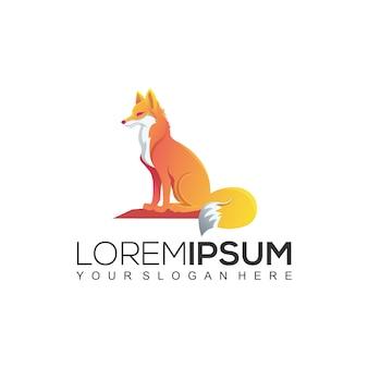 Modèle de logo gradient fox