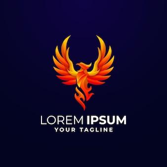 Modèle de logo gradient phoenix