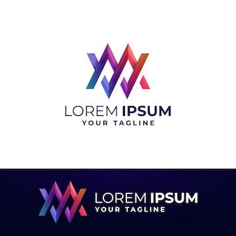 Modèle de logo gradient wm