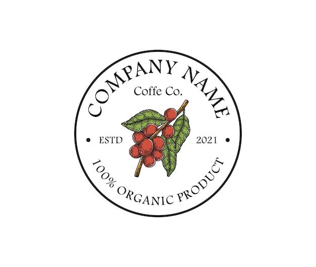 Modèle de logo de grain de café dessiné main vintage