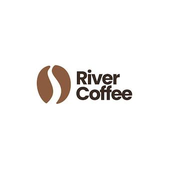 Modèle de logo de grain de café de rivière