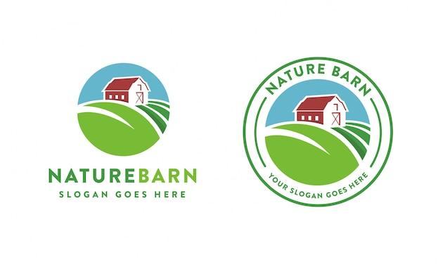 Modèle de logo de grange de ferme nature