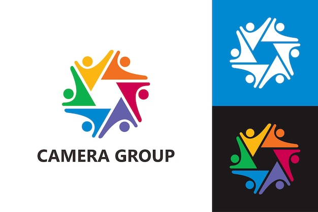 Modèle de logo de groupe de caméras vecteur premium