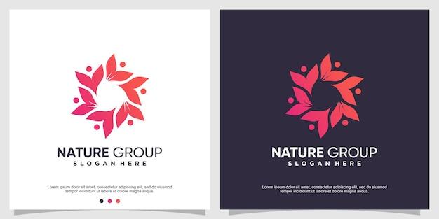 Modèle de logo de groupe nature avec un concept moderne vecteur premium