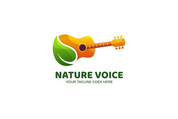 Modèle de logo guitare et feuille