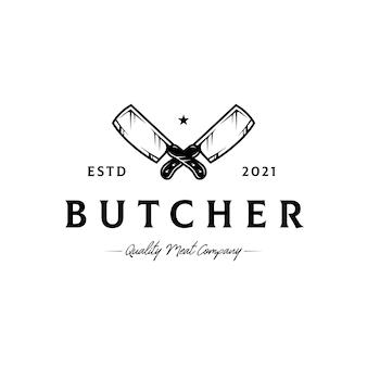 Modèle de logo de haches de boucher