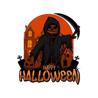 Modèle de logo halloween thème citrouille reaper