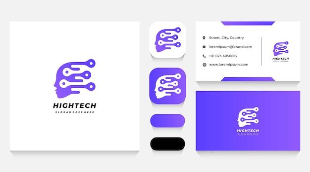 Modèle de logo de haute technologie humaine et carte de visite