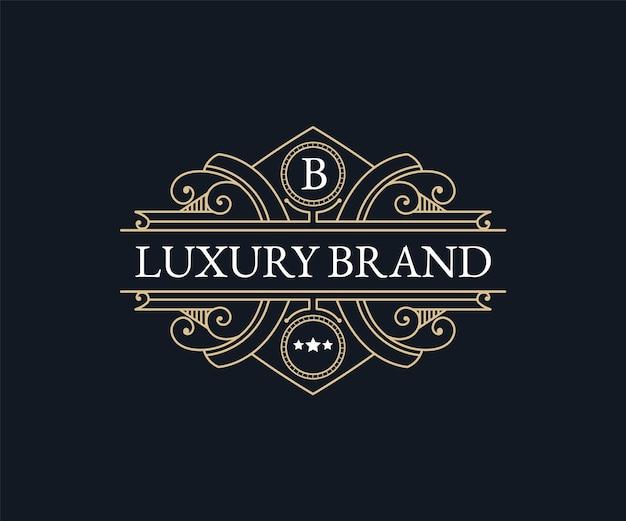 Modèle de logo héraldique emblème calligraphique victorien de luxe rétro avec cadre ornemental décoratif