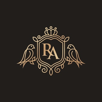 Modèle de logo héraldique d'oiseaux de luxe