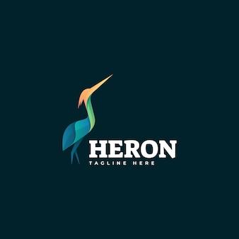 Modèle de logo heron gradient colorful style