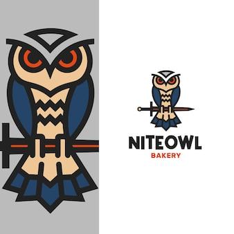 Modèle de logo de hibou chevalier abstrait