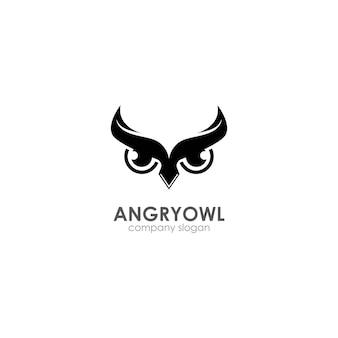 Modèle de logo hibou en colère, emblème`` symbole créatif, icône