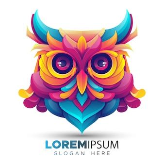Modèle de logo de hibou coloré