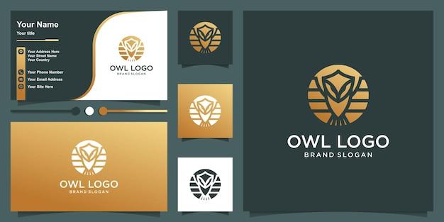 Modèle de logo hibou avec style de silhouette et conception de carte de visite