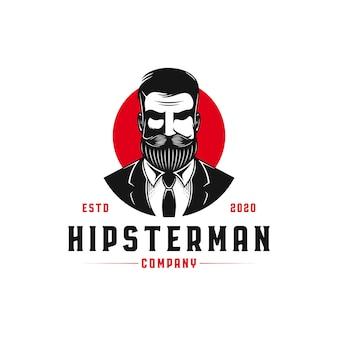 Modèle de logo hipster man
