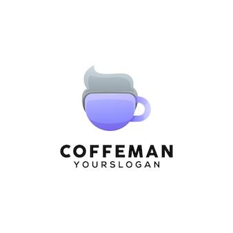 Modèle De Logo Homme Café Vecteur Premium
