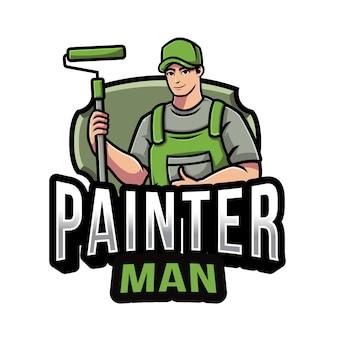 Modèle De Logo Homme Peintre Vecteur Premium