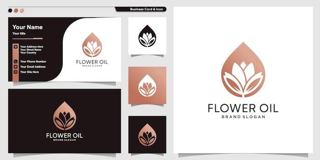 Modèle de logo d'huile de fleur avec un concept abstrait moderne vecteur premium