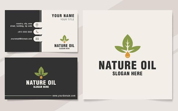 Modèle de logo d'huile de nature sur le style monogramme
