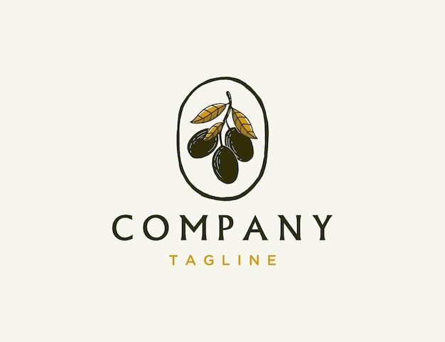 Modèle de logo d'huile d'olive vintage