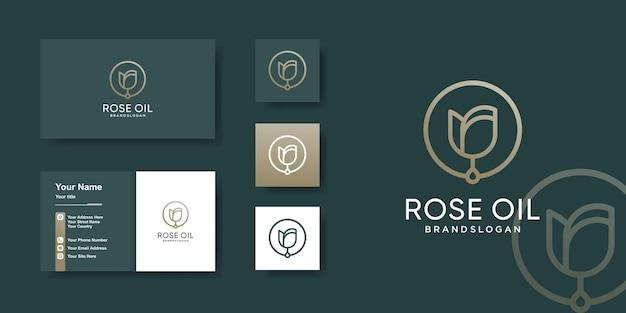 Modèle de logo d'huile de rose avec un concept unique vecteur premium