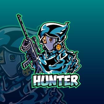 Modèle de logo hunter e-sport
