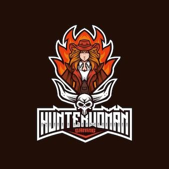 Modèle de logo hunter woman esport