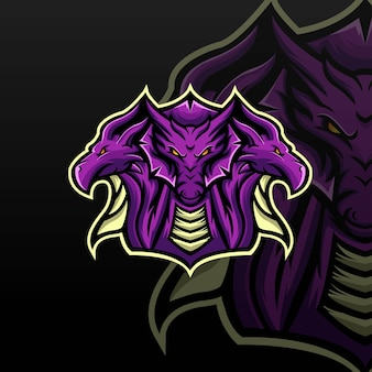 Modèle de logo hydra dragon e sport