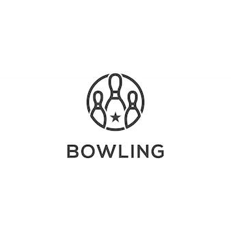 Modèle de logo d'icône de bowling
