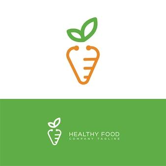Modèle de logo icône de nourriture saine stéthoscope carotte