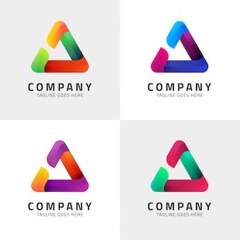 Modèle de logo icône triangle moderne design