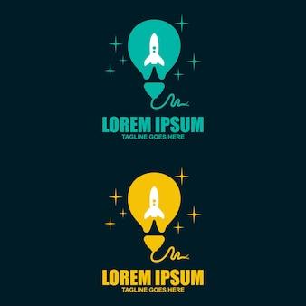 Modèle de logo d'idée de fusée, concept de conceptions de fusée d'ampoule moderne