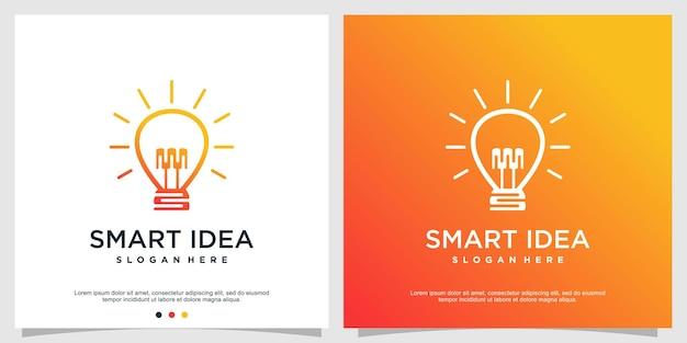 Modèle de logo d'idée intelligente avec concept créatif vecteur premium