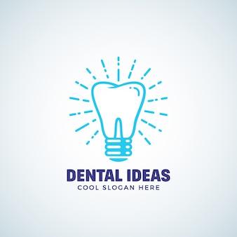 Modèle de logo d'idées dentaires avec une typographie moderne.