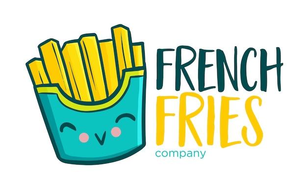 Modèle De Logo Illustratif Drôle Mignon Et Kawaii Pour Magasin De Frites, Entreprise Ou Entreprise Vecteur Premium